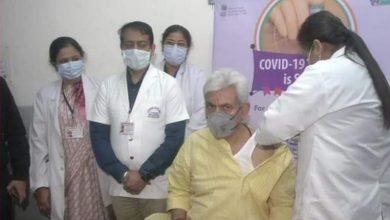 Photo of J&K LG Manoj Sinha gets first COVID-19 vaccine shot