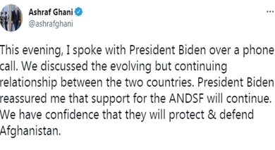 Photo of US President Joe Biden pledged to continue support for Afghan National Defense and Security Forces: Prez Ashraf Ghani