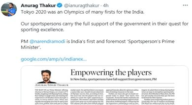Photo of Govt & PM Modi's full support to sportspersons in their quest for sporting excellence: Sports Minister Anurag Thakur